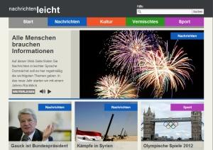 """Startseite von """"nachrichten-leicht.de"""" -- klar, übersichtlich, multimedial."""