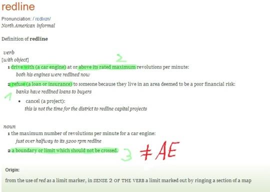(to) redline (verb / noun) im OED -- BE und AE weichen signifikant ab.