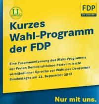 """Titel zum Programm der FDP mit eigenem """"Leichter Lesen""""-Logo."""