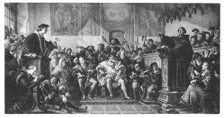 Julius Hübner (1806-1882) bannt die Leipziger Disputation von 1519 unter dem Motto Soli Deo Gloria 1867 auf Leinwand (3,3 m x 6,2 m). Links Eck, rechts Luther (mit Carlstadt und Melanchthon) an Kathedern, neben ihnen, an Schreibpulten, Notare. In der Mitte der junge Hz. Barnim von Pommern und Hz. Georg der Bärtige von Sachsen.